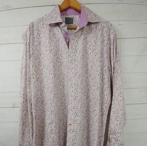 Thomas Dean Floral Flip Cuff Men's Shirt Size XL